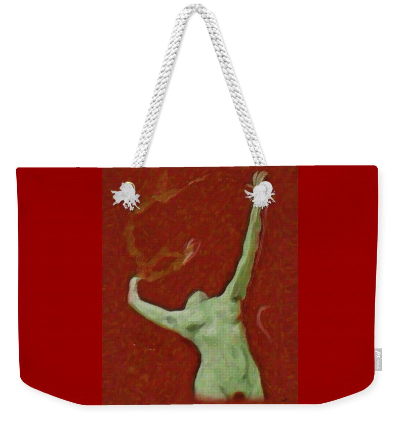 Abstract Weekender Tote Bag featuring the painting Naked Dance Of The Enchantress by Quim Abella