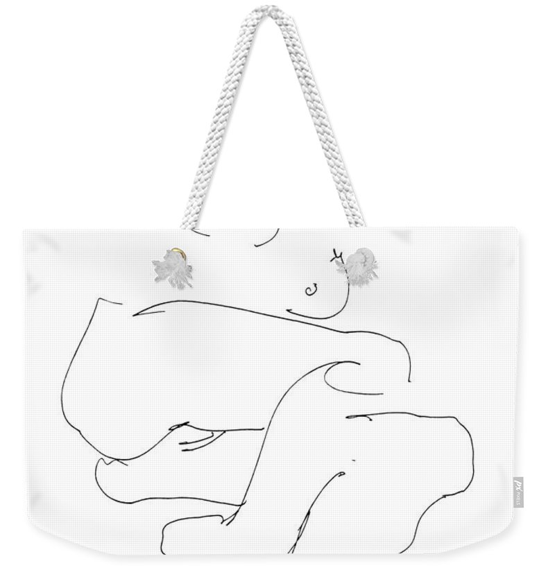 Females Weekender Tote Bag featuring the drawing Naked-female-art-21 by Gordon Punt
