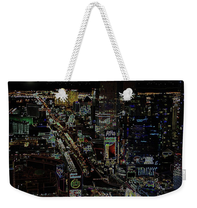 Las Vegas Nevada Weekender Tote Bag featuring the photograph Naked Moon Over The Strip by David Lee Thompson