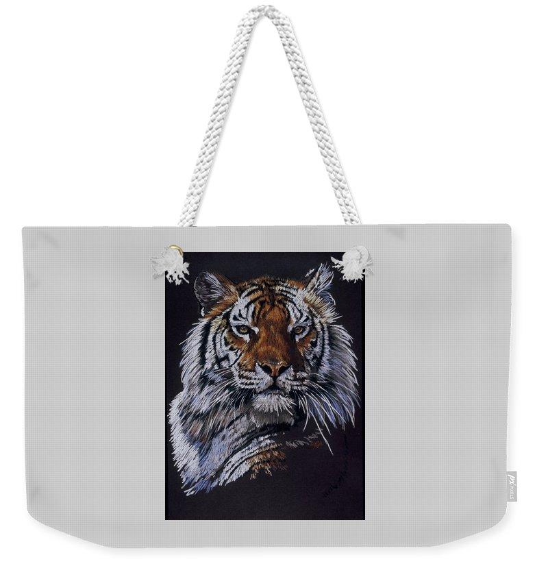 Tiger Weekender Tote Bag featuring the drawing Nakita by Barbara Keith