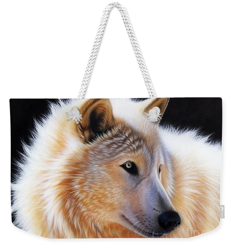 Acrylic Weekender Tote Bag featuring the painting Nala by Sandi Baker