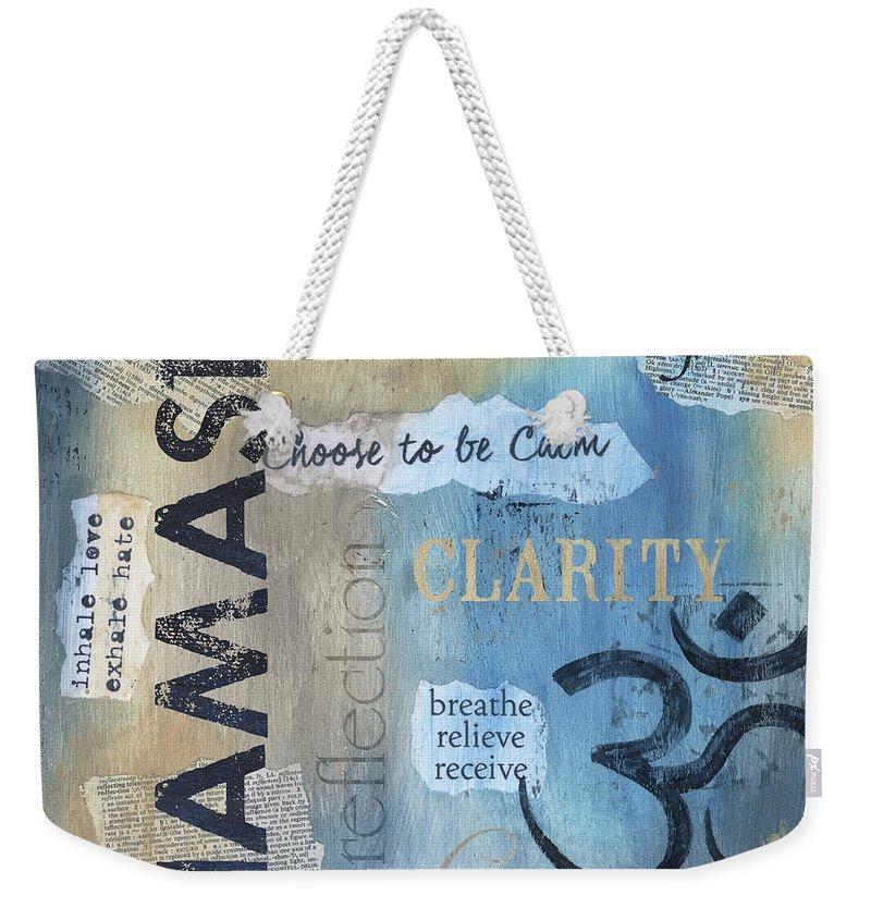 Namaste Weekender Tote Bag featuring the painting Namaste by Debbie DeWitt