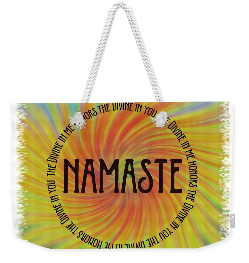 Terry Deluco Weekender Tote Bag featuring the photograph Namaste Divine And Honor Swirl by Terry DeLuco