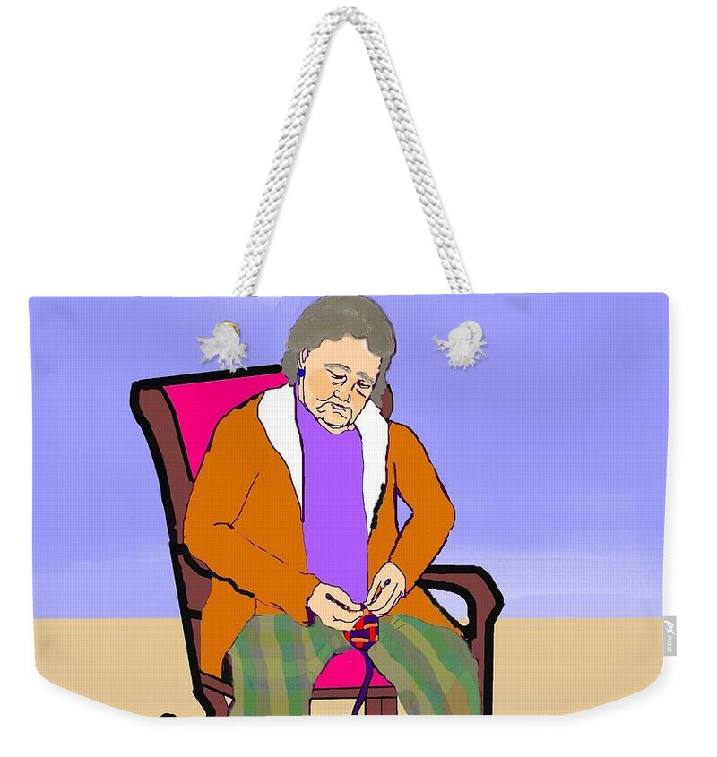 Grandmother Weekender Tote Bag featuring the digital art Nana Knitting by Pharris Art