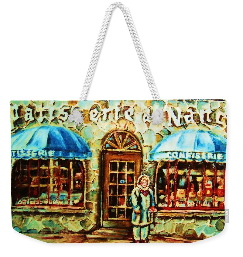 Bakery Shops Weekender Tote Bag featuring the painting Nancys Fine Pastries by Carole Spandau
