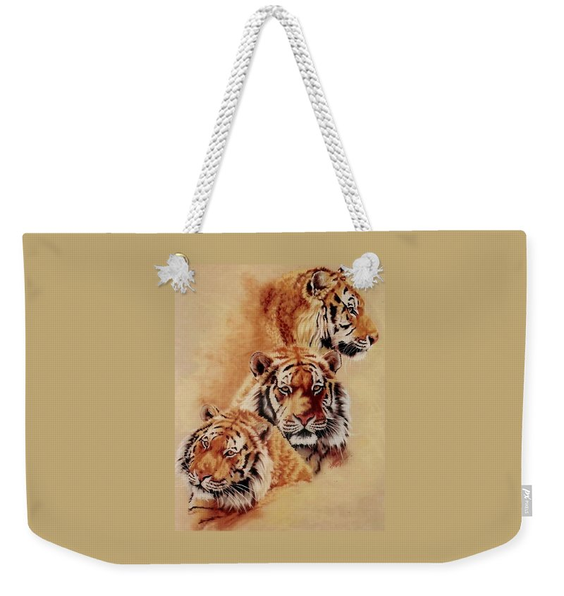 Tiger Weekender Tote Bag featuring the pastel Nanook by Barbara Keith