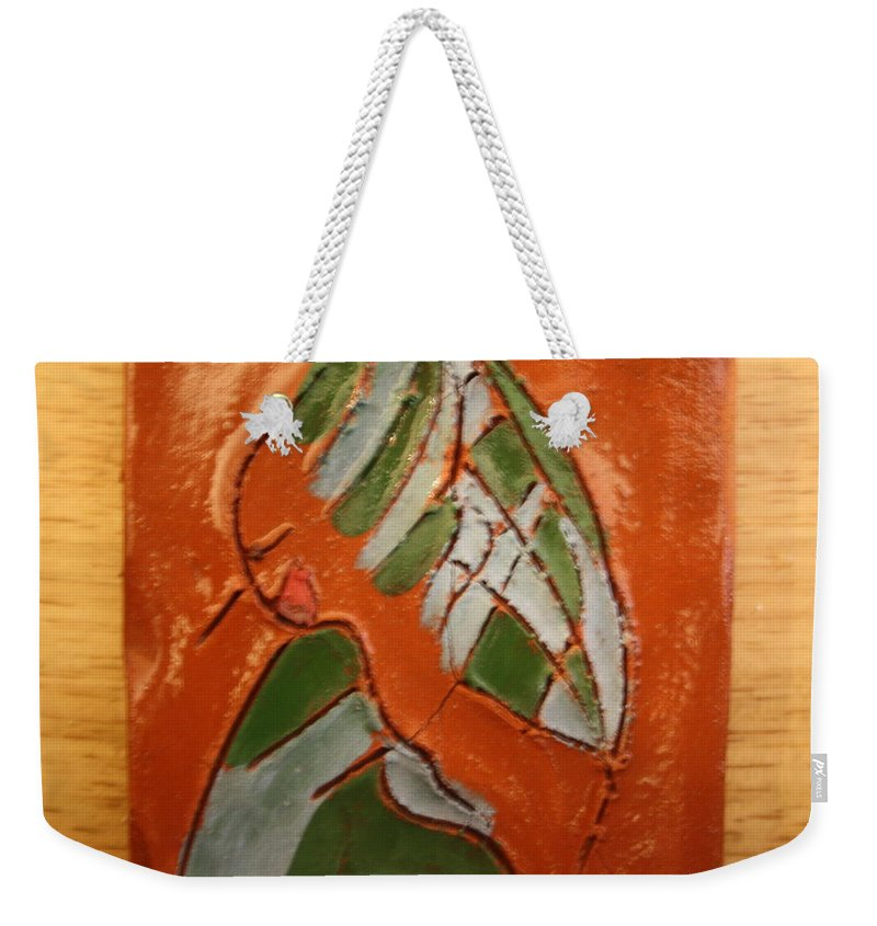 Jesus Weekender Tote Bag featuring the ceramic art Nansamba - Tile by Gloria Ssali