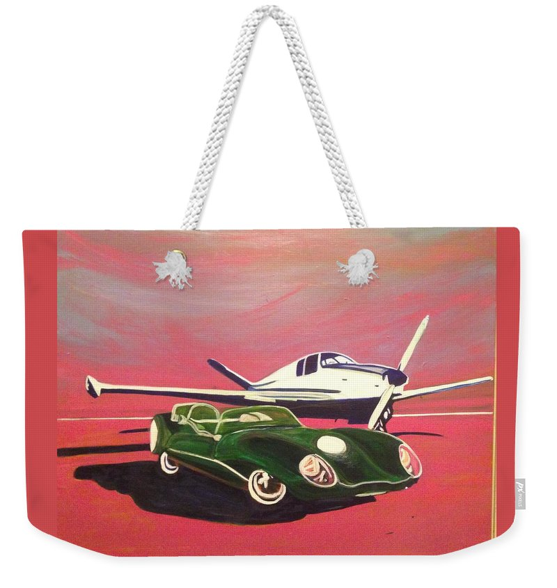 Napa Valley Lotus And Bonanza Beechcraft -tail Is A Beautiful Day In Napa. Weekender Tote Bag featuring the painting Napa Valley Lotus And Bonanza Beechcraft by Rebecca Lou Mudd