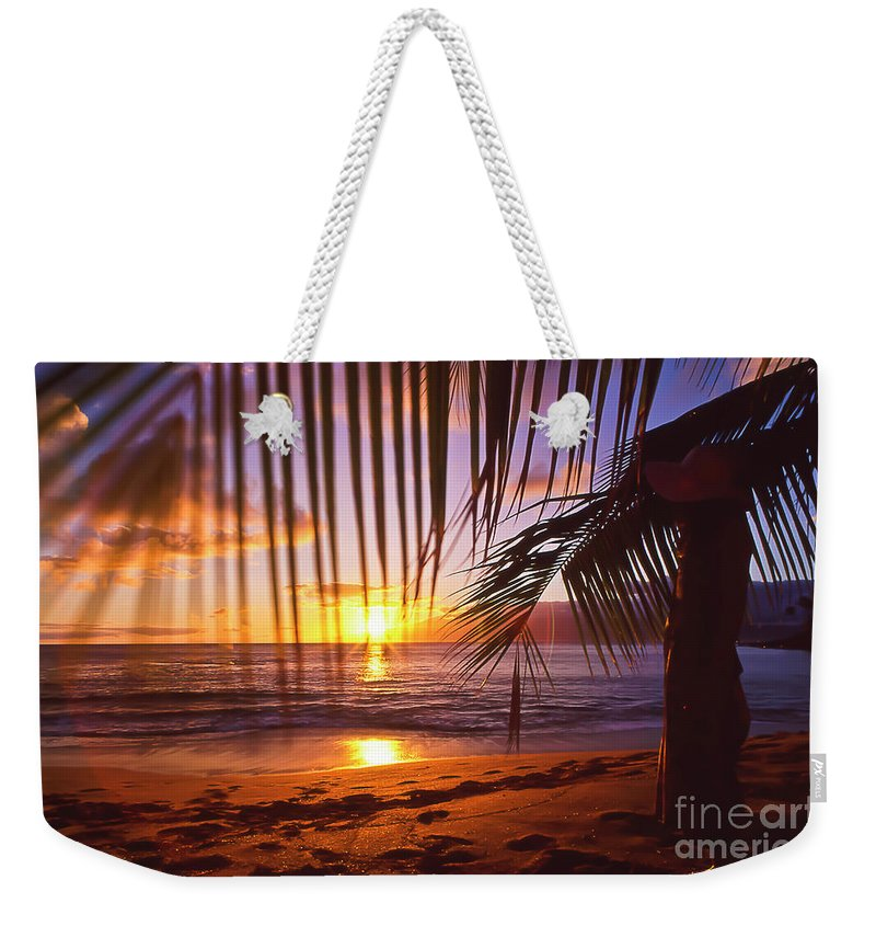 Sunset Weekender Tote Bag featuring the photograph Napili Bay Sunset Maui Hawaii by Jim Cazel