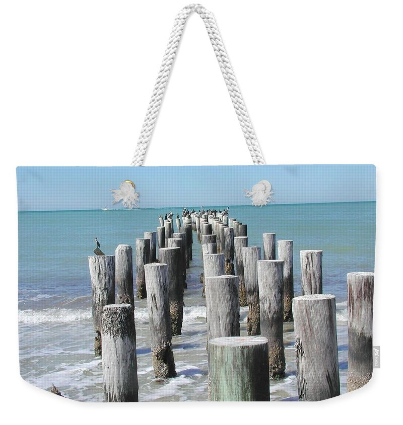 Ocean Weekender Tote Bag featuring the photograph Naples Pier by Tom Reynen