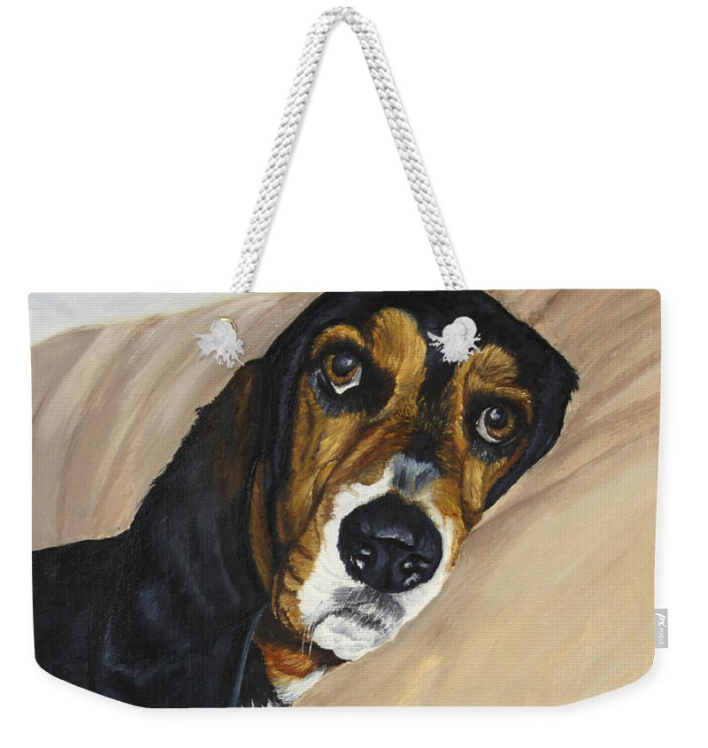 Dog Weekender Tote Bag featuring the painting Naptime - Bassett by Johanna Lerwick