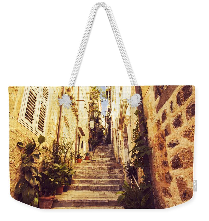 Architecture Weekender Tote Bag featuring the photograph Narrow Street In Old Town Dubrovnik by Sandra Rugina