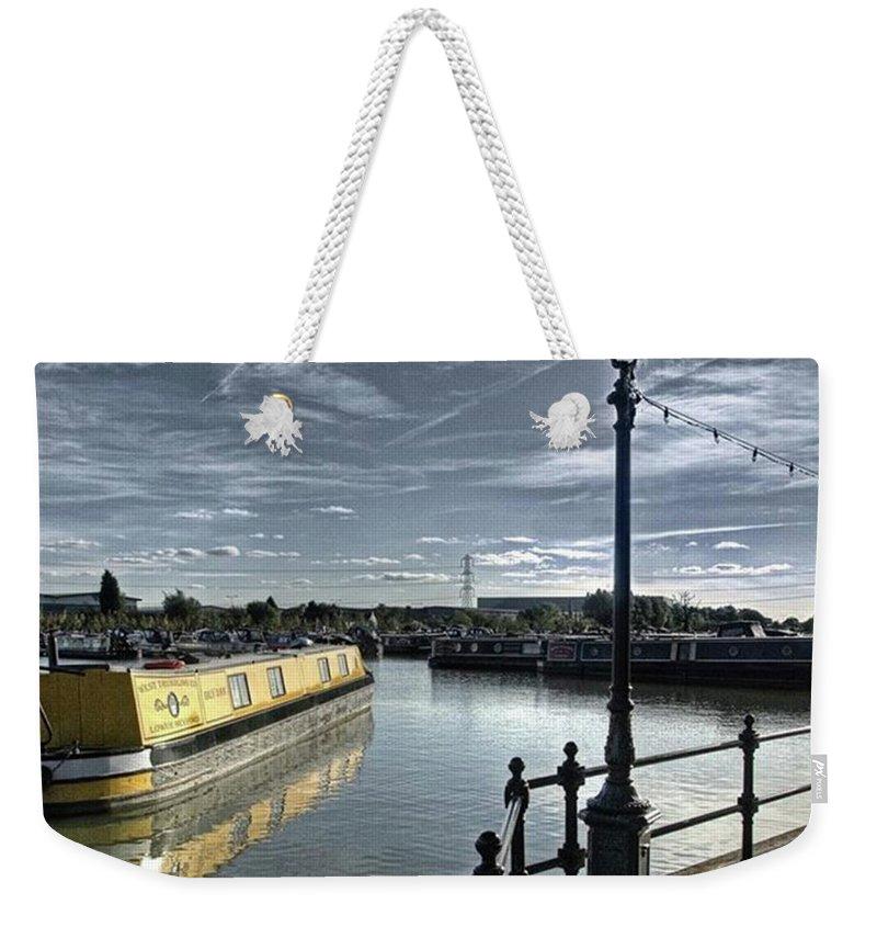 Nature Weekender Tote Bag featuring the photograph Narrowboat Idly Dan At Barton Marina On by John Edwards