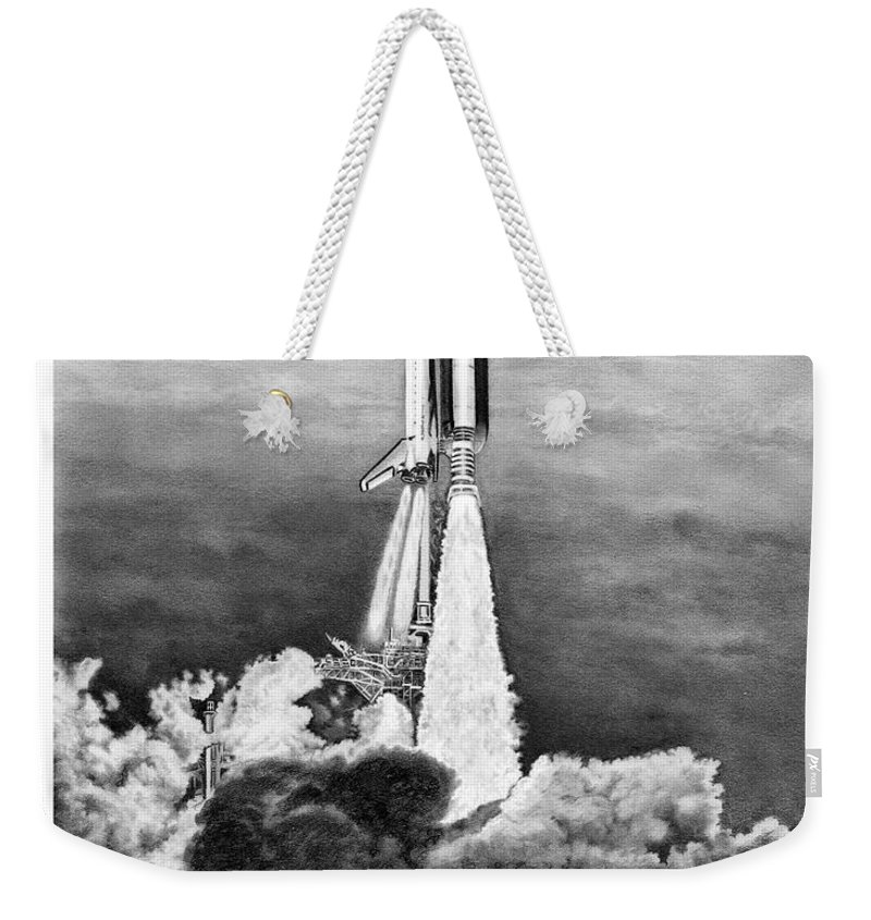Pencil Weekender Tote Bag featuring the drawing NASA Space Shuttle by Murphy Elliott