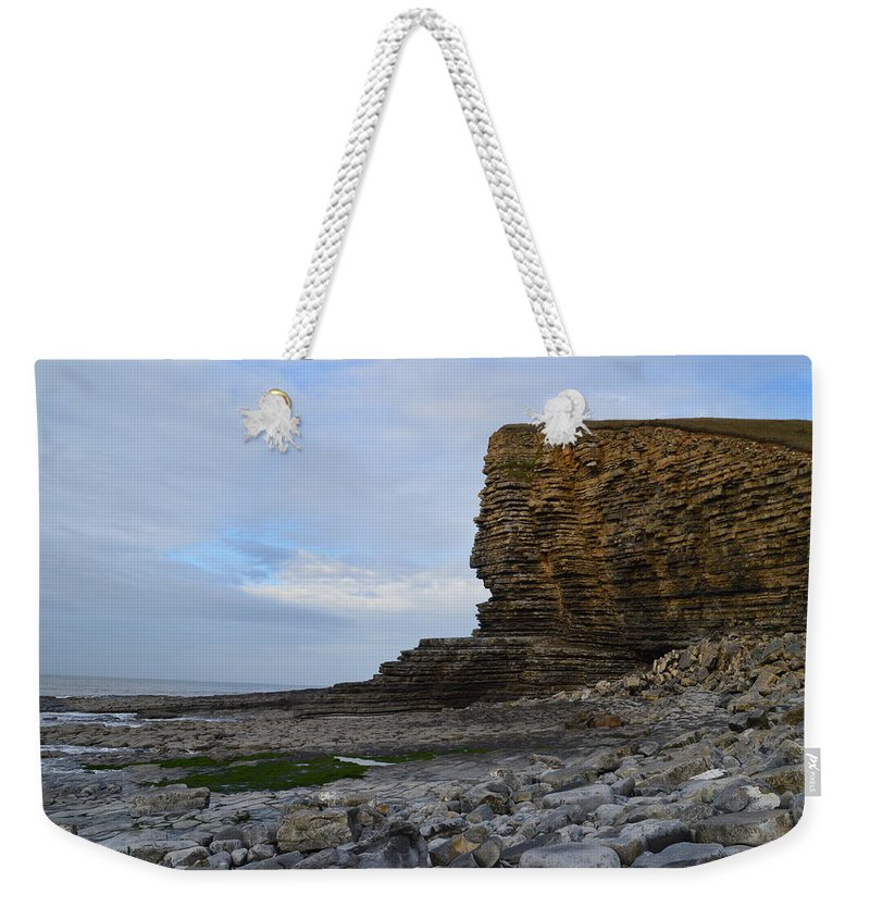 Nash Point Weekender Tote Bag featuring the photograph Nash Point In Wales by Stephen Jenkins