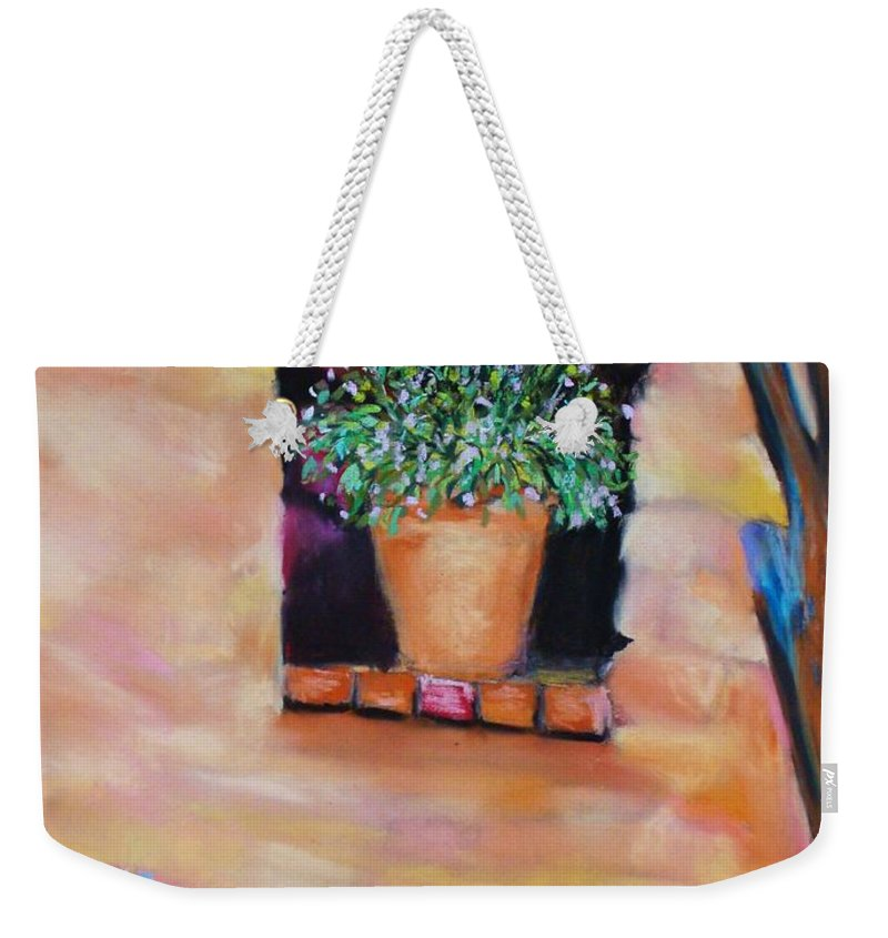 Courtyard Weekender Tote Bag featuring the painting Nash's Courtyard by Melinda Etzold