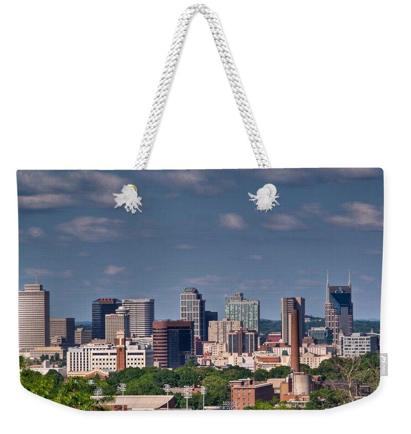 Nashville Weekender Tote Bag featuring the photograph Nashville Skyline 1 by Douglas Barnett