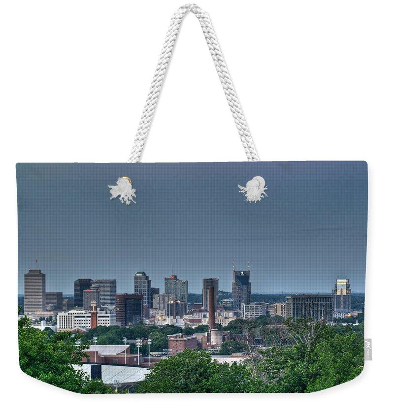 Nashville Weekender Tote Bag featuring the photograph Nashville Skyline 2 by Douglas Barnett