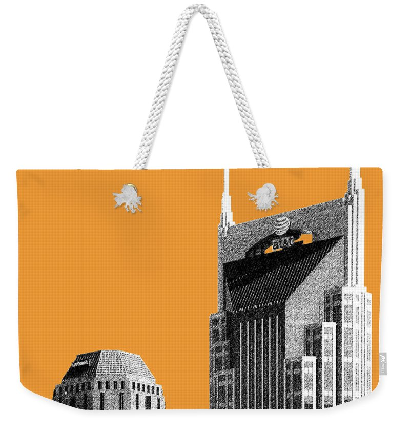Architecture Weekender Tote Bag featuring the digital art Nashville Skyline At And T Batman Building - Orange by DB Artist