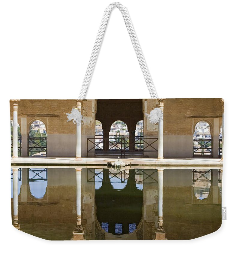 Moorish Weekender Tote Bag featuring the photograph Nasrid Palace Arches Reflection At The Alhambra Granada by Mal Bray