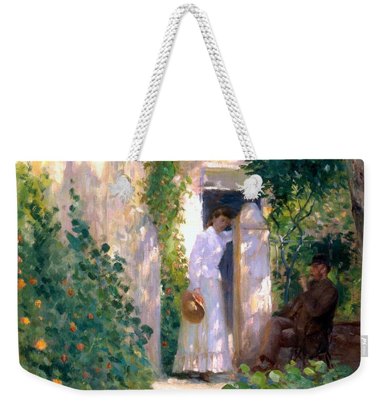 Painting Weekender Tote Bag featuring the painting Nasturtiums by Mountain Dreams