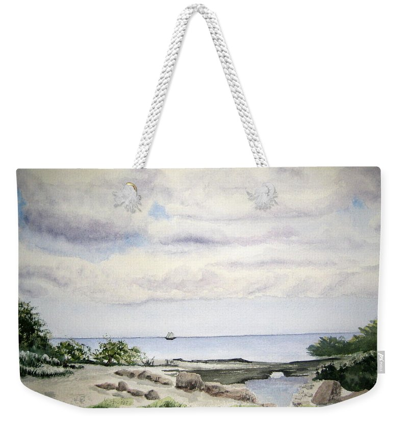 Natalie Weekender Tote Bag featuring the painting Natalie's Beach by Julia RIETZ