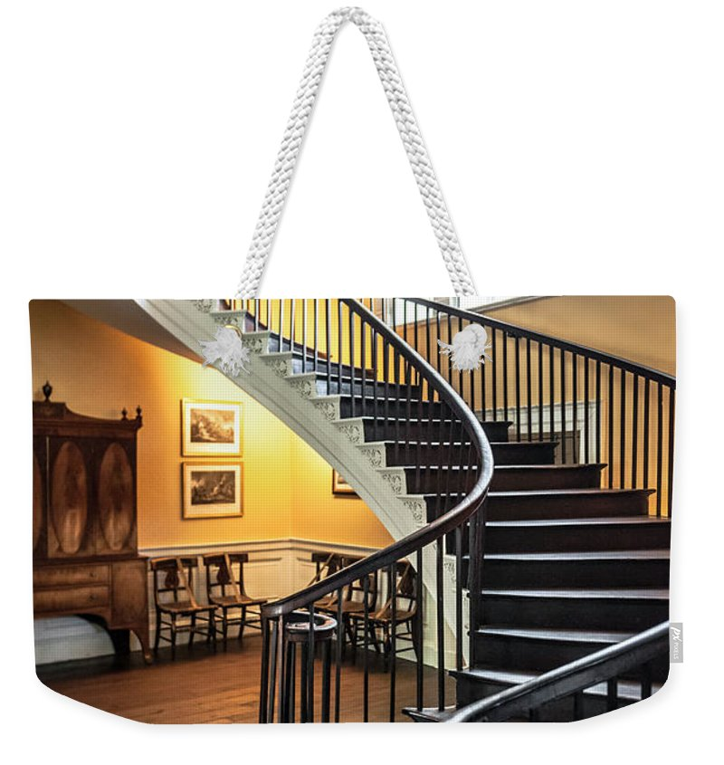 Nathaniel Russell Weekender Tote Bag Featuring The Photograph Nathaniel  Russell House Free Floating Staircase By Dale