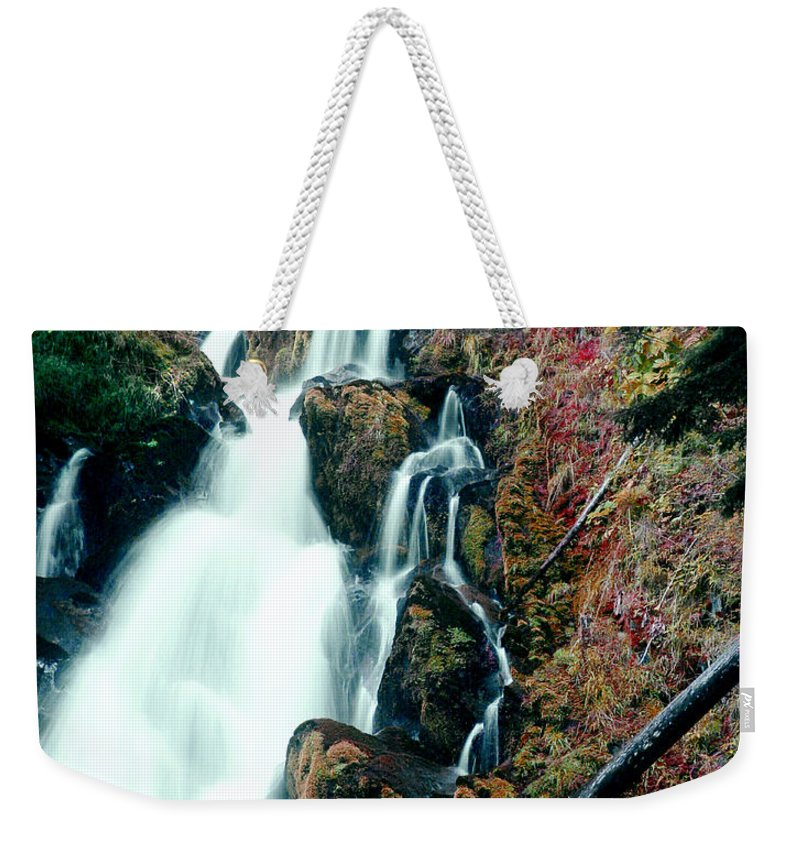 Waterfall Weekender Tote Bag featuring the photograph National Creek Falls 07 by Peter Piatt