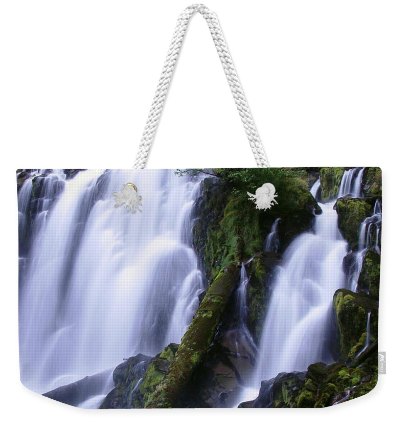 Waterfall Weekender Tote Bag featuring the photograph National Creek Falls 09 by Peter Piatt