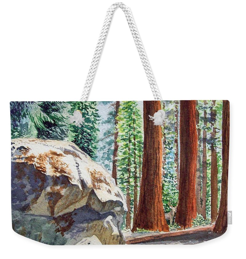 Sequoia Weekender Tote Bag featuring the painting National Park Sequoia by Irina Sztukowski