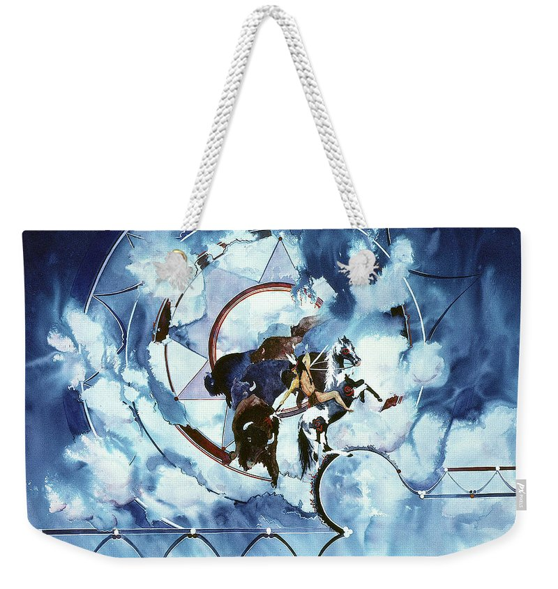 Native American Weekender Tote Bag featuring the painting Native American Blue Spirit by Connie Williams