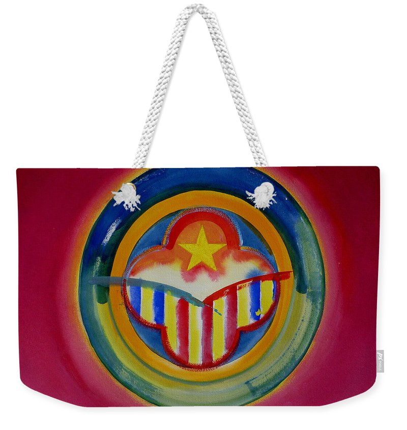 Button Weekender Tote Bag featuring the painting Native American by Charles Stuart