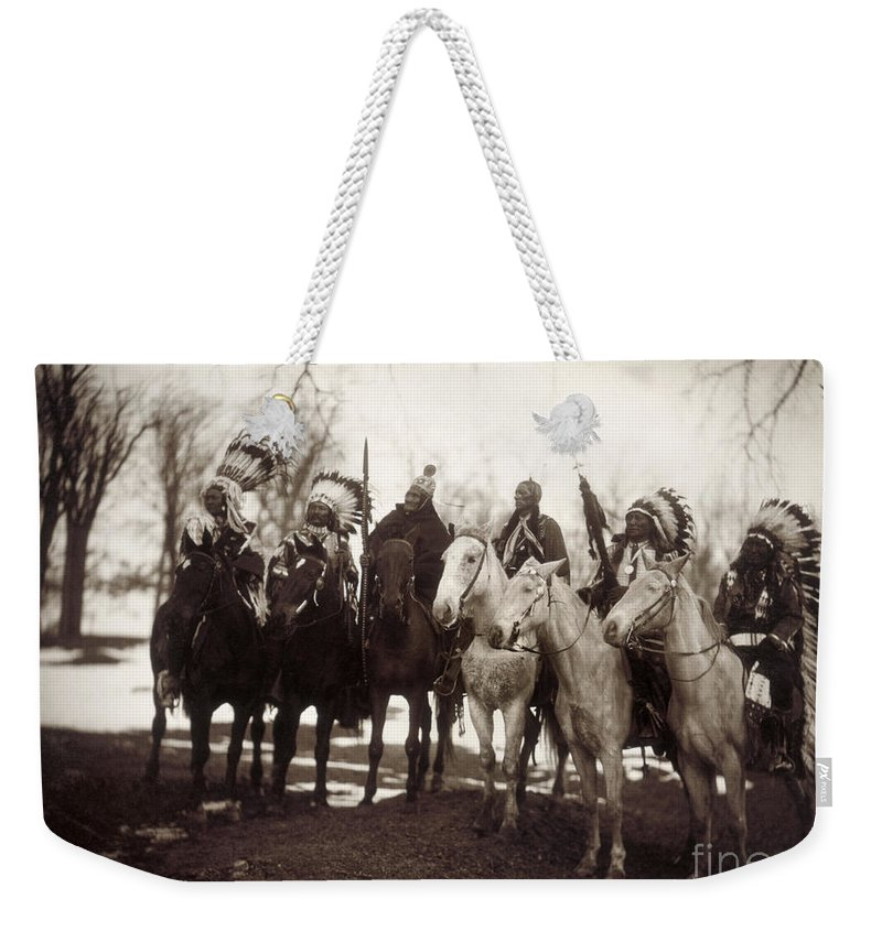 1900 Weekender Tote Bag featuring the photograph Native American Chiefs by Granger