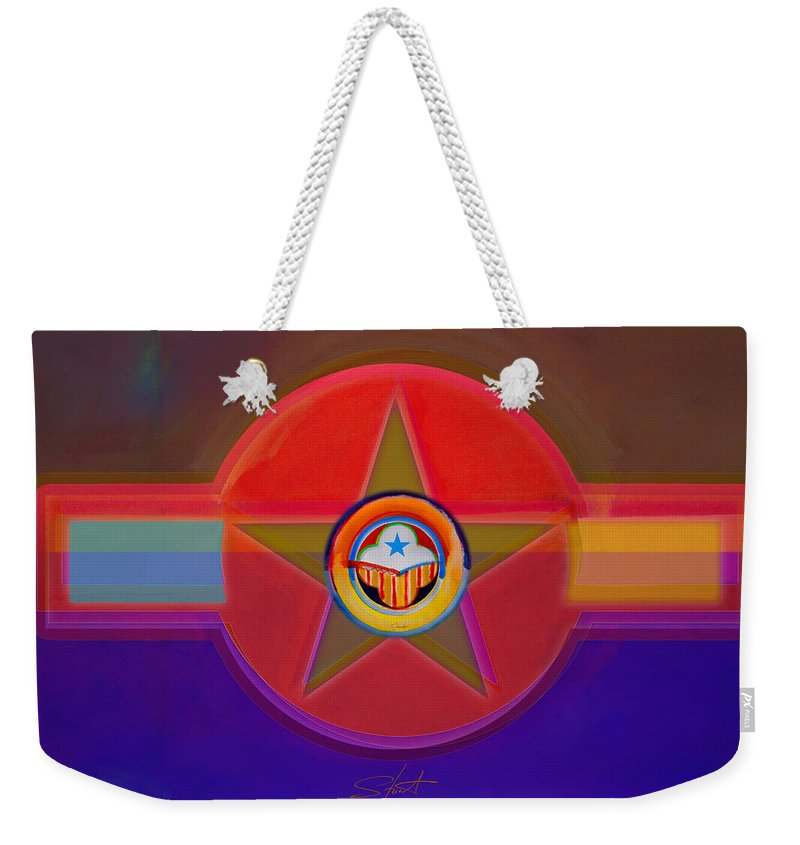 Insignia Weekender Tote Bag featuring the digital art Native American Decal by Charles Stuart