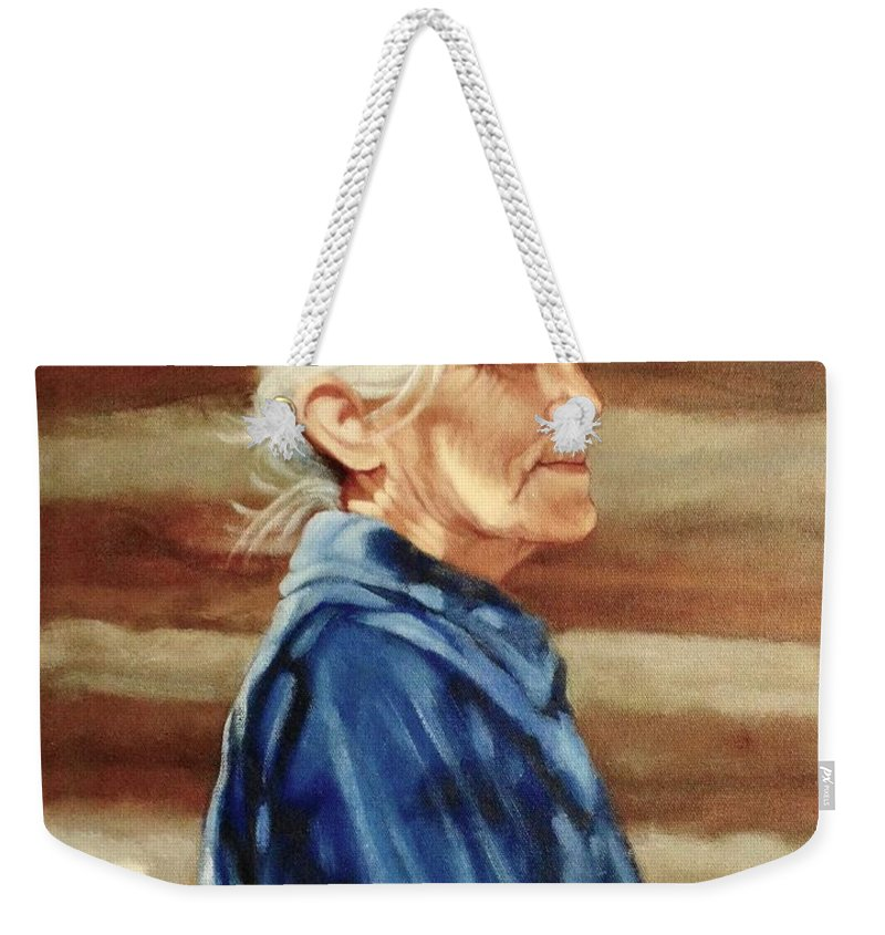 Indian Weekender Tote Bag featuring the painting Native American by Janet McGrath