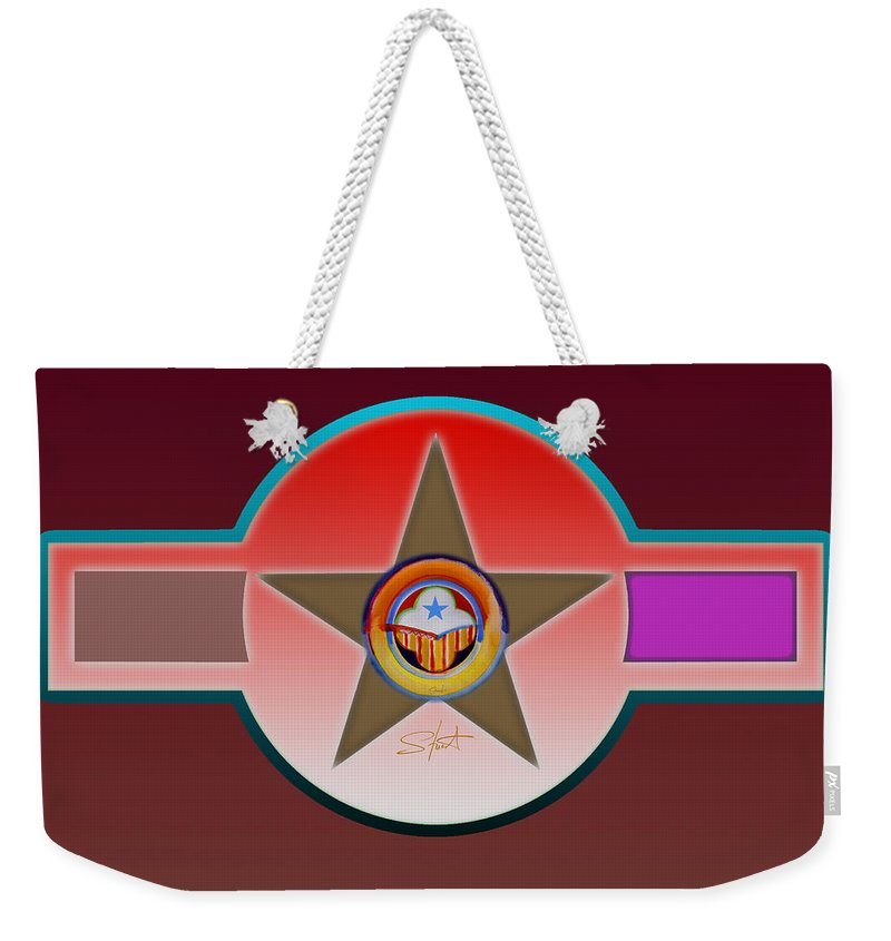 Insignia Weekender Tote Bag featuring the painting Native American Red by Charles Stuart
