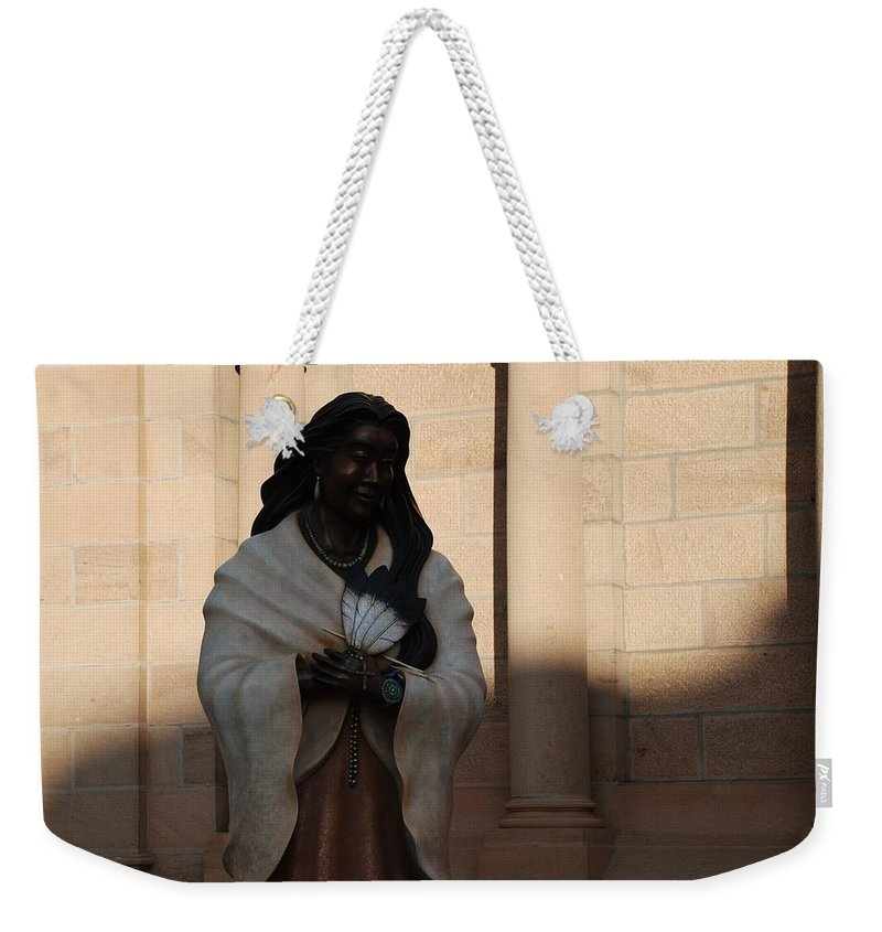 Sculpture Weekender Tote Bag featuring the photograph Native American Saint by Rob Hans