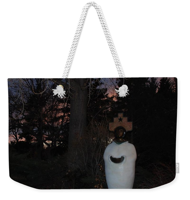 Trees Weekender Tote Bag featuring the photograph Native American Sculpture At The State Capital by Rob Hans