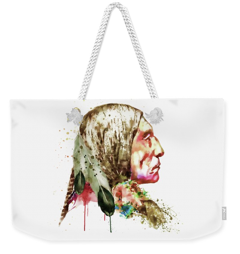 Native American Weekender Tote Bag featuring the painting Native American Side Face by Marian Voicu