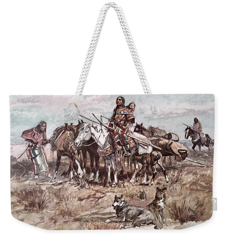 Native American Indian Weekender Tote Bag featuring the painting Native Americans Plains People Moving Camp by Charles Marion Russell