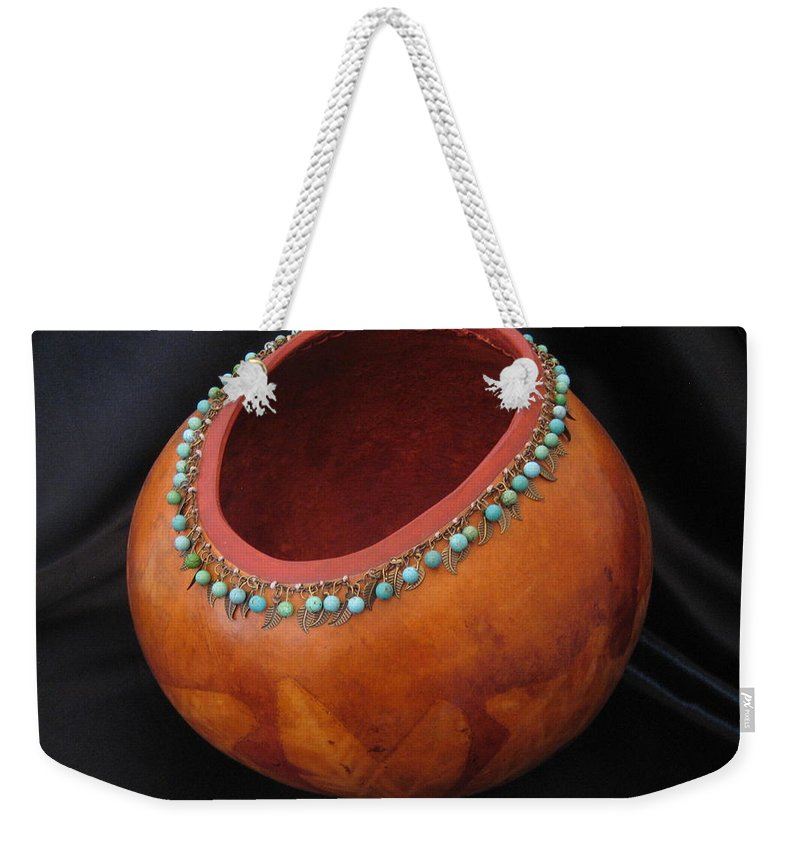 Gourd Weekender Tote Bag featuring the mixed media Native Leaves by Barbara Prestridge