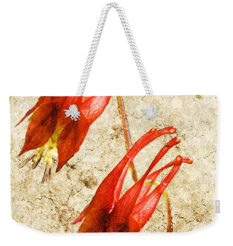 Columbine Weekender Tote Bag featuring the digital art Native Virginia Columbine by Teresa Mucha