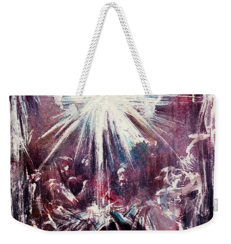 Nativity Weekender Tote Bag featuring the painting Nativity 1 by Rachel Christine Nowicki