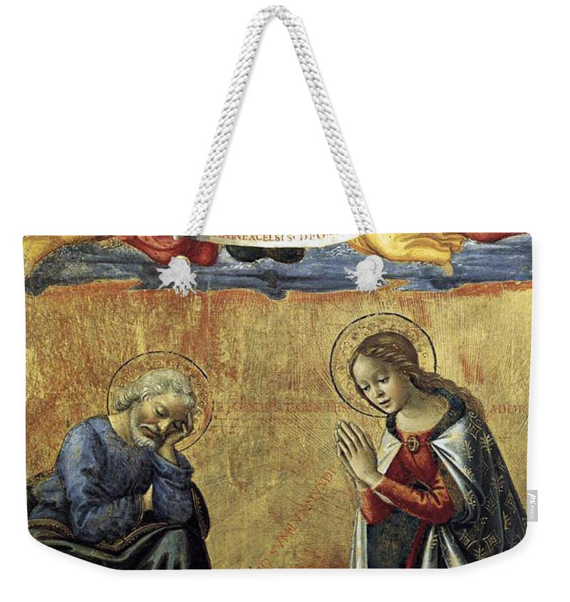 Nativity Weekender Tote Bag featuring the painting Nativity By Domenico Ghirlandaio by Munir Alawi