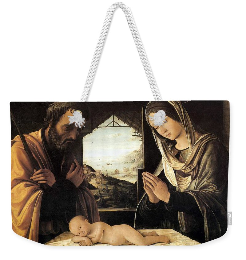 Nativity Weekender Tote Bag featuring the painting Nativity By Lorenzo Costa by Munir Alawi