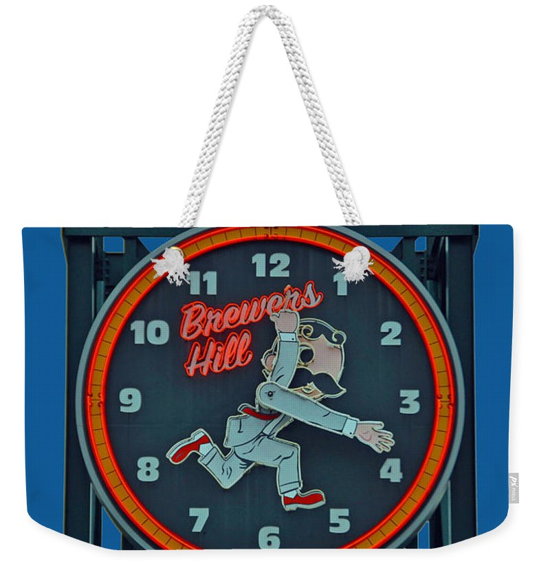 Gunther Weekender Tote Bag featuring the photograph Natty Boh Clock by Jost Houk