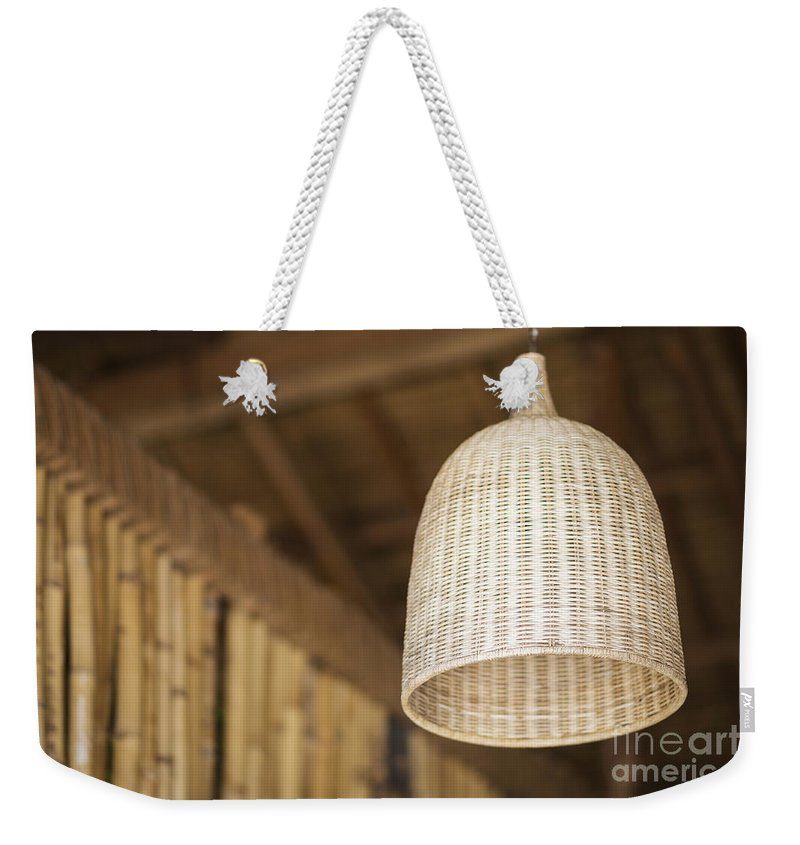 Asia Weekender Tote Bag featuring the photograph Natural Bamboo Interior Design Lampshade Detail by Jacek Malipan