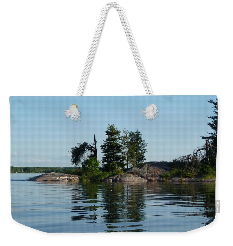 Lake Weekender Tote Bag featuring the photograph Natural Breakwater by Ruth Kamenev