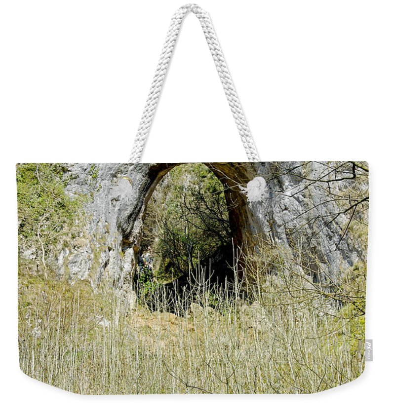 Dovedale Weekender Tote Bag featuring the photograph Natural Limestone Arch At Dove Valley by Rod Johnson