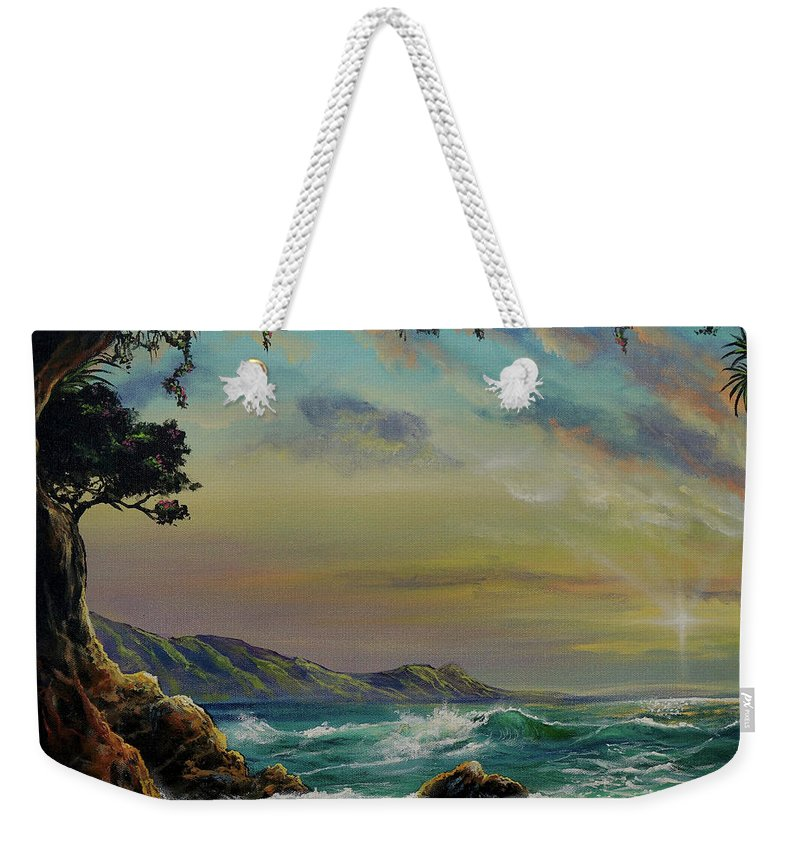 Seascape Weekender Tote Bag featuring the painting Natural Mystic by Marco Antonio Aguilar